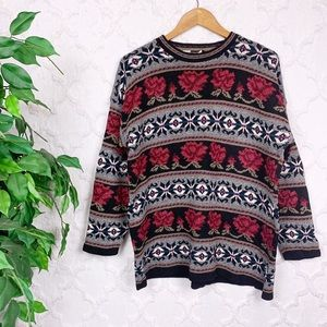 Vintage Floral Rose Tribal Aztec Printed Sweater